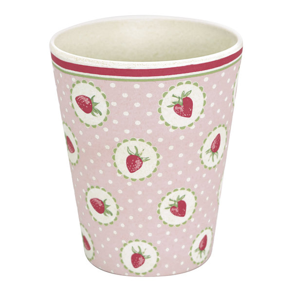 GreenGate Bambus Becher – Cup Strawberry pale pink