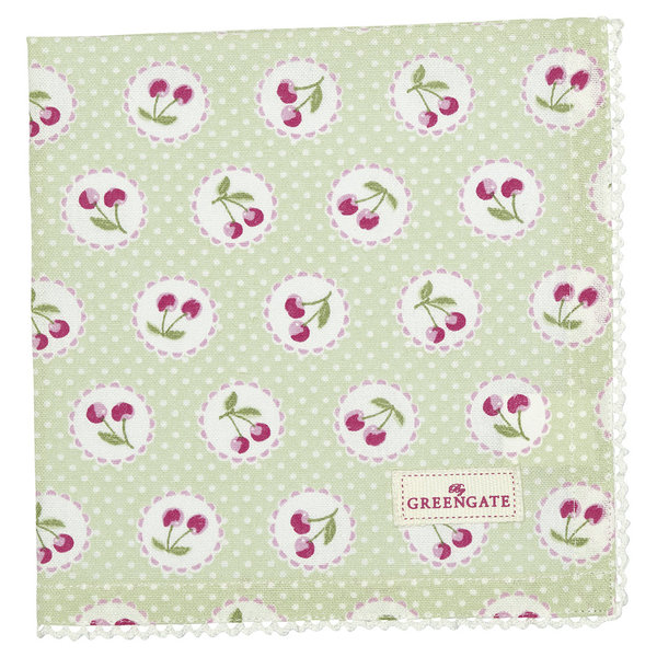 GreenGate Stoffserviette – Napkin with lace Cherry pale green